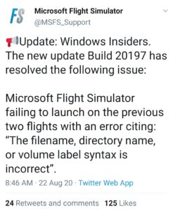 Tweet de Microsoft pour une solution possible