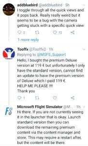 A few queries on Twitter regarding the Flight Simulator