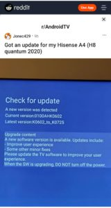 The Reddit post informing on the Hisense H8 update
