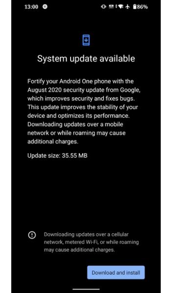 August 2020 Mi A3 update