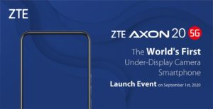 ZTE is all set to launch the Axon A20 online on 1st September, 2020.