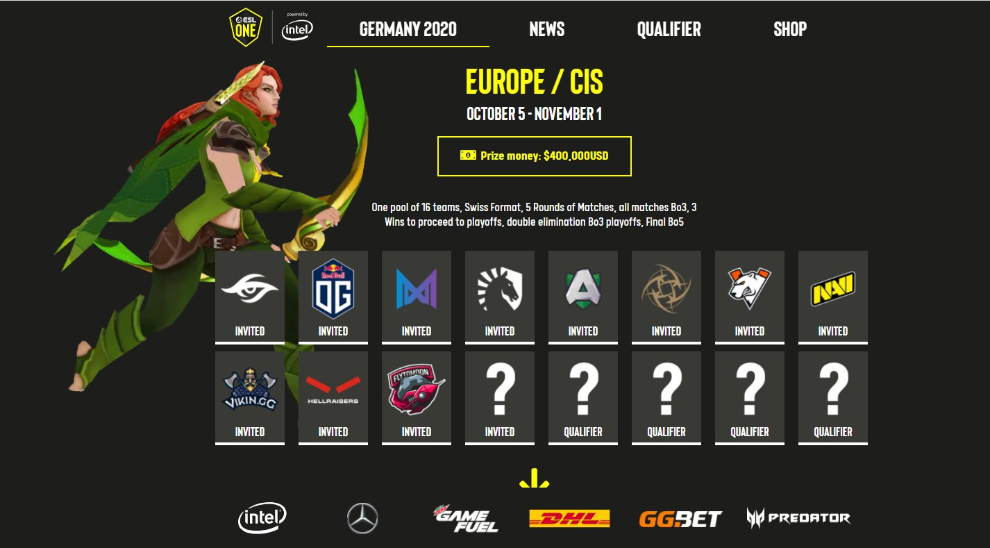Dota 2 Esl One Germany 2020