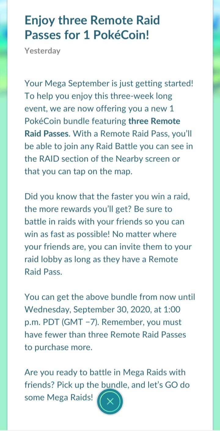 Mega September Pokémon Go