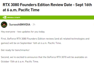 NVIDIA makes important announcements about GeForce RTX 3080 and RTX 3070