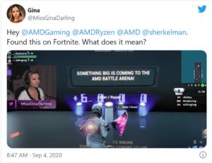 MissGinaDarling hinting at AMD Radeon RX 6000 and Big Navi