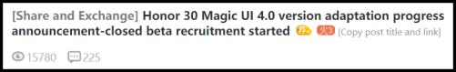 Magic UI 4.0 for Honor 30 series