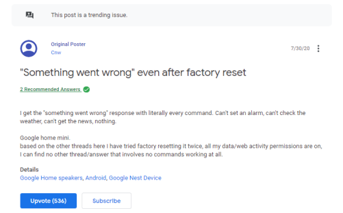 Google Home Mini glitch