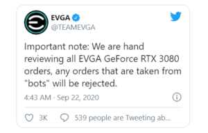 EVGA GeForce RTX 3080 tweet on Twitter