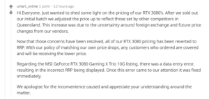 Aussie Umart's reply on their pricing of MSI GeForce RTX 3080 GAMING X TRIO