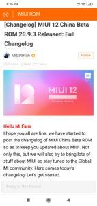 Mibatman announces Changelog for MIUI 12 China Beta ROM 20.9.3