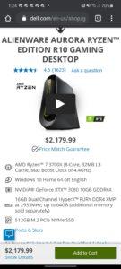 Alienware Aurora R10 Ryzen Edition PC featuring NVIDIA GeForce RTX 3080 GPU