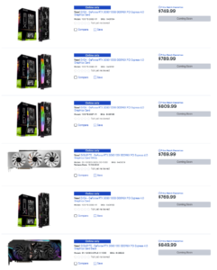 Best Buy US list of RTX 3080 cards Coming Soon