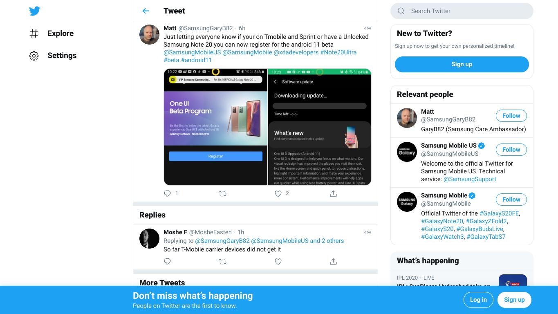 Samsung Note 20 tweet screenshot