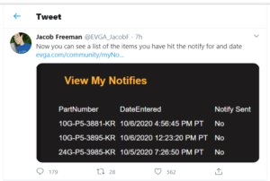 Jacob Freeman from EVGA displaying the new Notify Me option