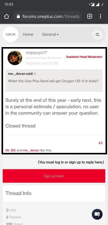 OnePlus Forum Screenshot
