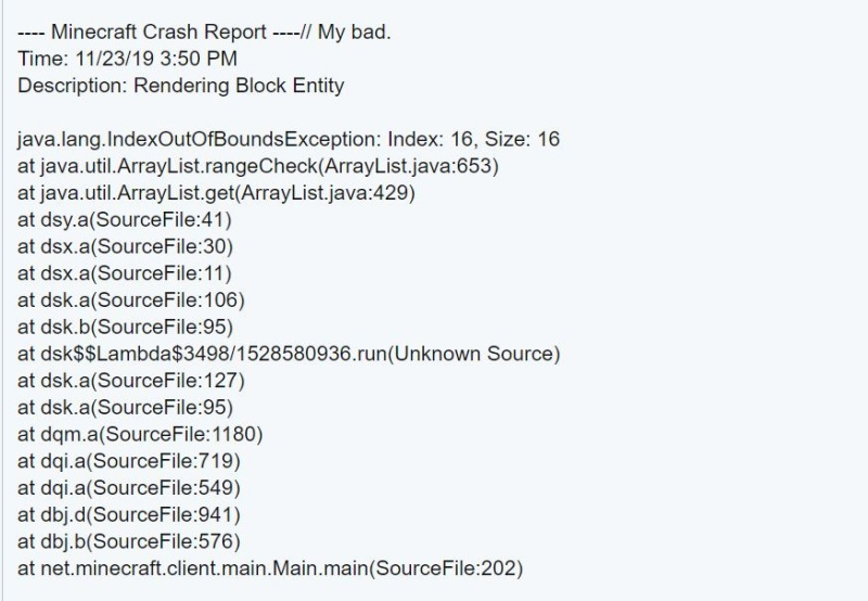 Minecraft Index out of bounds exception crash report