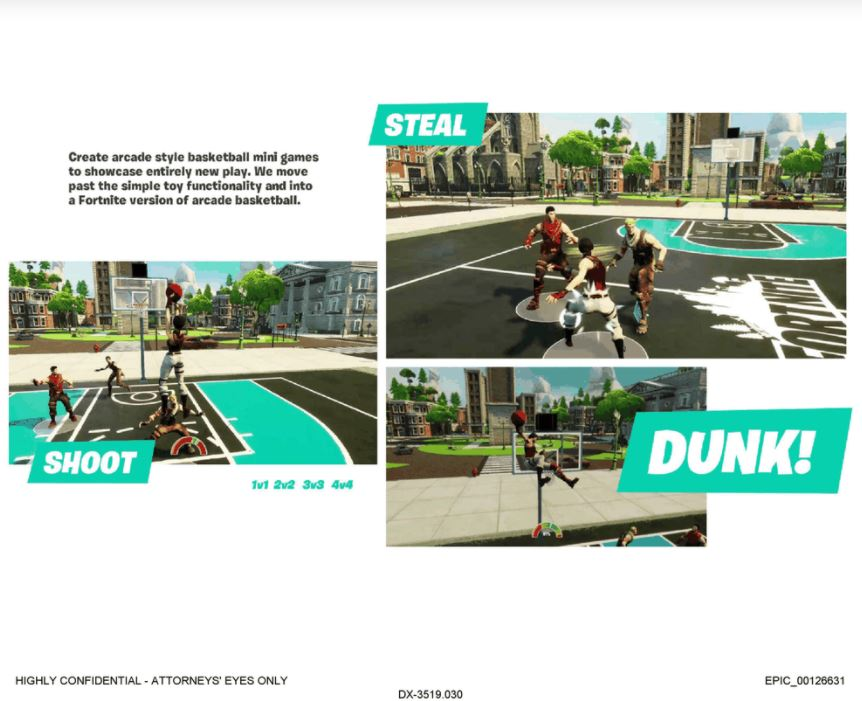 A screenshot of a leak slide showing the new basketball minigame coming to Fortnite.