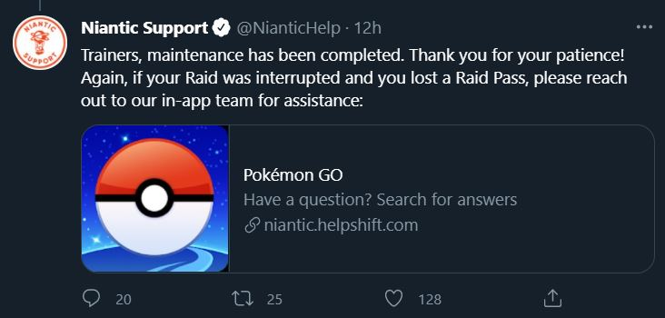 Tweet from Niantic Support confirming maintenance on Pokémon GO raids is complete.