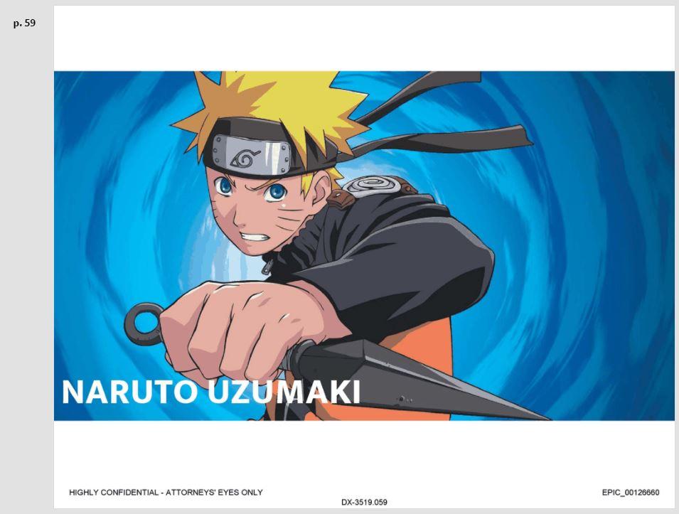 A screenshot of a leak presentation slide showing Naruto.