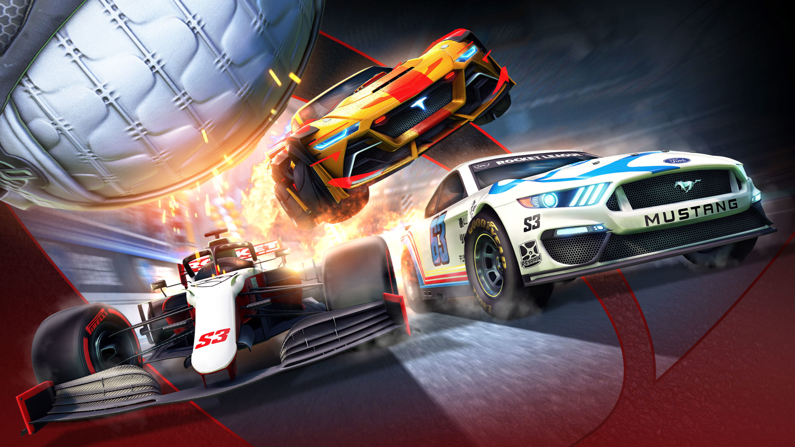 Promotional image for Rocket League season 3, depicting NASCAR and F1 cars.