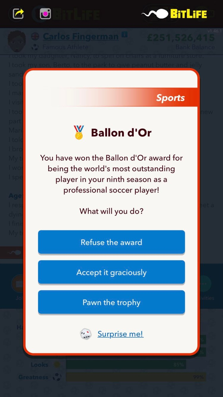 Bitlife win Ballon d'Or in game explained