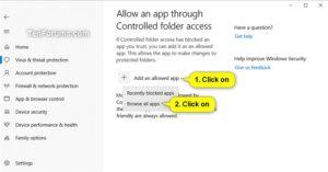 Add an Allowed app Source: Windows 10 Forums