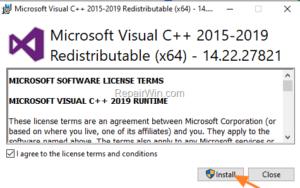 Visual C++ download Source: Repair Windows