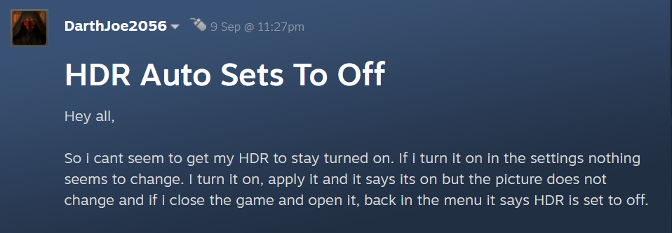 Steam comments on hdr issue