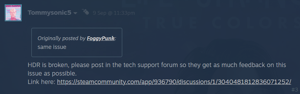 Steam comments on hdr issue 1