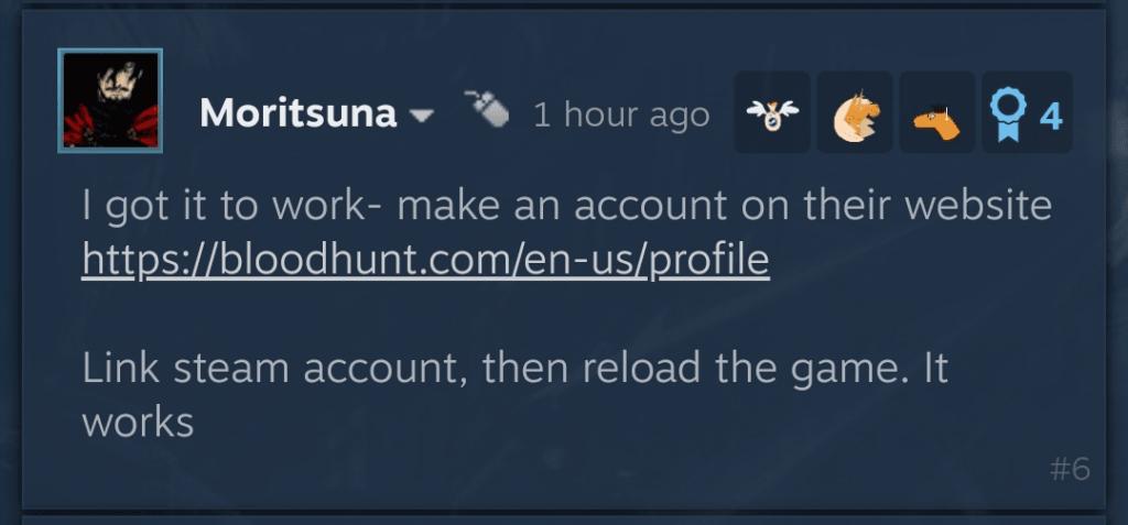 Bloodhunt account creation error
