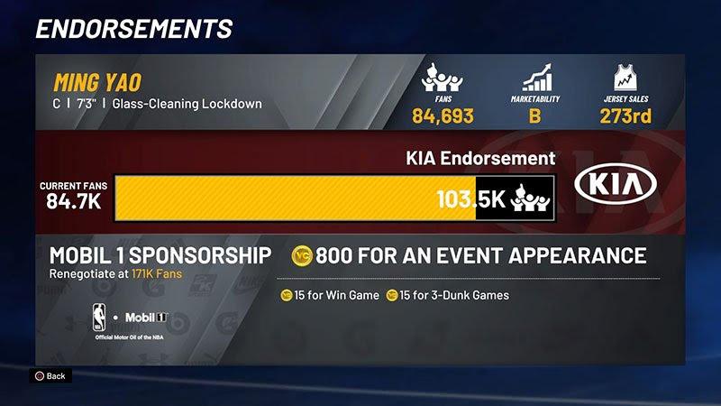Endorsement fans NBA 2K22