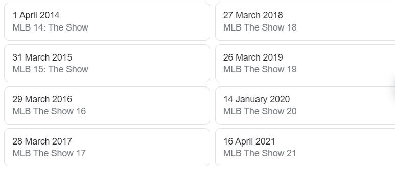 MLB The Show Release Dates