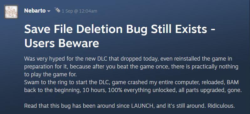 Maneater Save File Deletion Bug