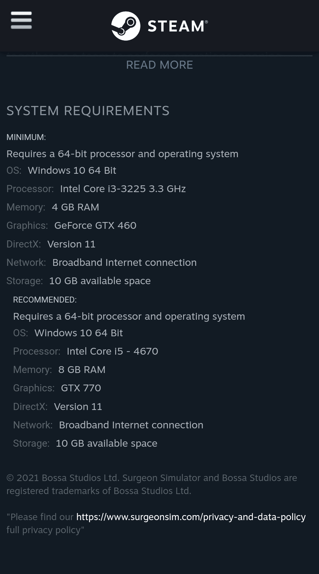 Surgeon Simulator 2 PC requirements