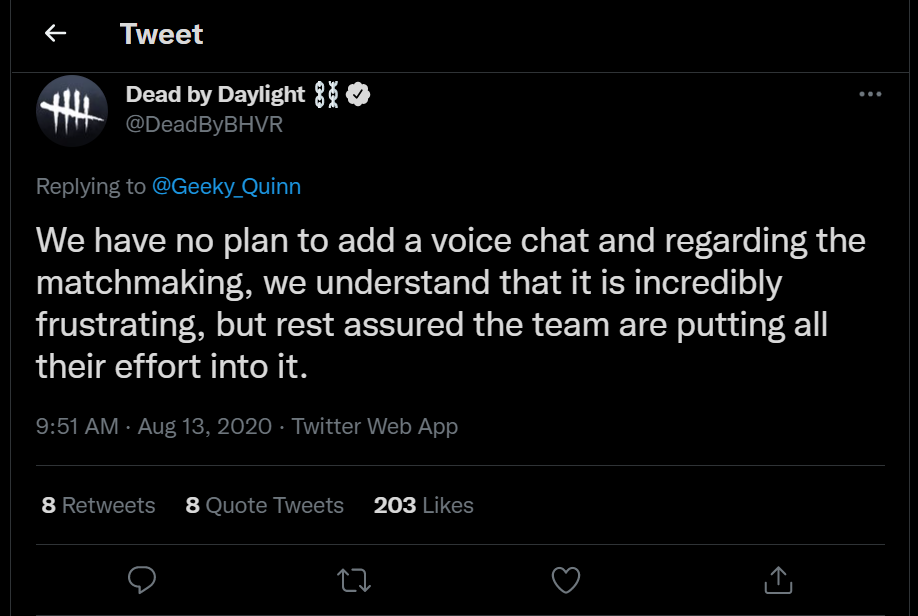 Dead by Daylight Twitter account answers on voice chat in the game
