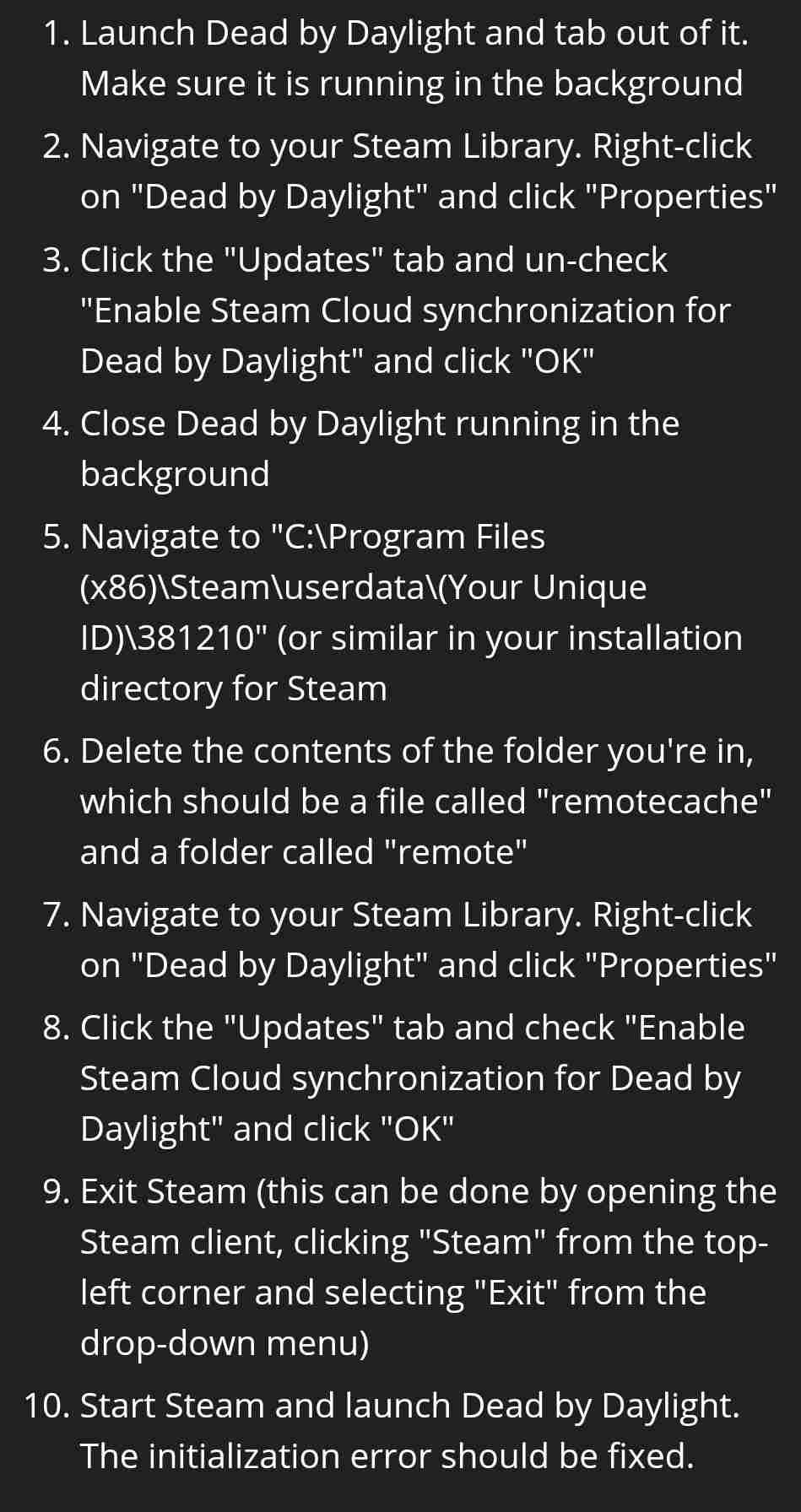 Dead-By-Daylight-Initialization Error