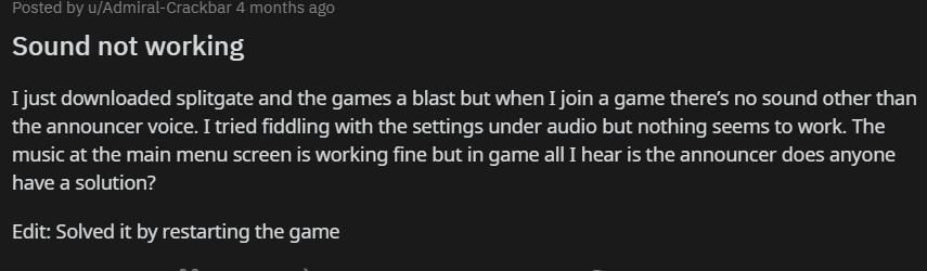 Splitgate audio issue