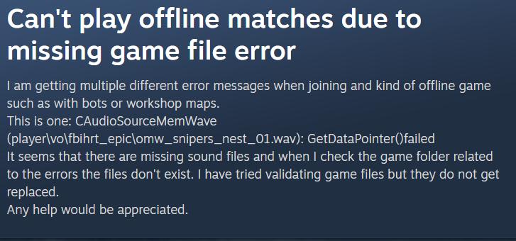 CS:GO error being faced