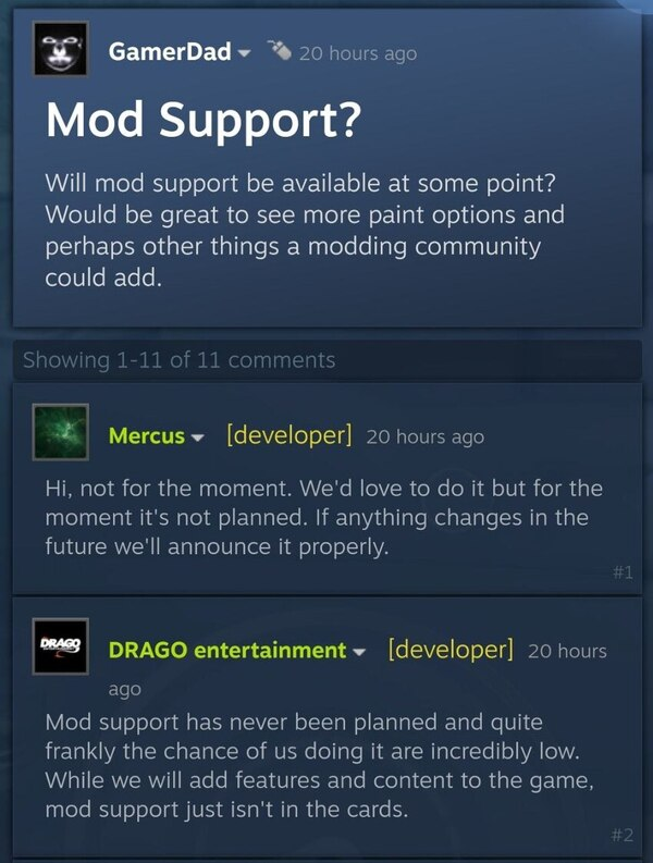 Developers Comment